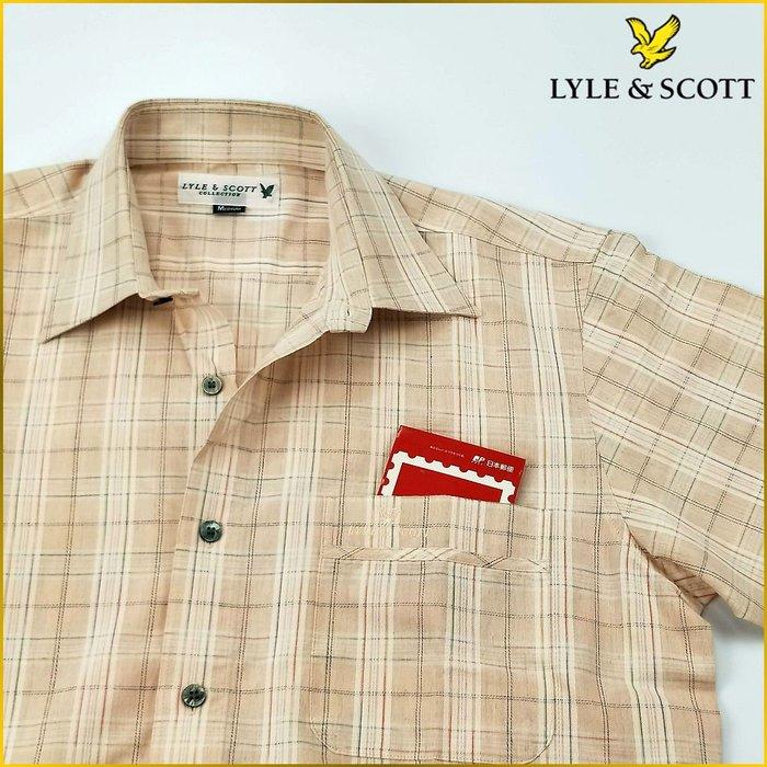 日本二手衣✈️英國品牌 LYLE&SCOTT 日本製 亞麻混紡 格紋襯衫 短袖 棉麻襯衫 口袋 男裝 M号 M1978L