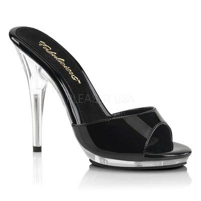 Shoes InStyle《五吋》美國品牌 FABULICIOUS 原廠正品漆皮透明高跟拖鞋 出清『黑色』