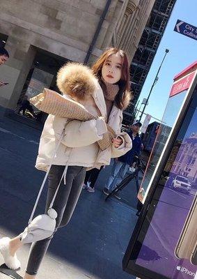 【玩美agassi】超大蓬毛 厚實短版舖棉外套 黑/白/粉 共三色