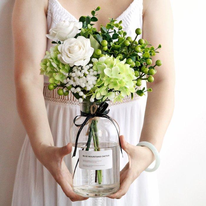 假花瓶 假花 仿真花 花器 花盆 玻璃 年花大花瓶玻璃仿真花束套裝假花盆栽擺件北歐餐桌茶幾家居裝飾辦公室