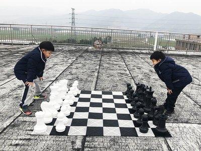 益智棋盤王高41CM戶外巨型國際象棋子+棋盤 適用幼兒園,家庭花園,草坪