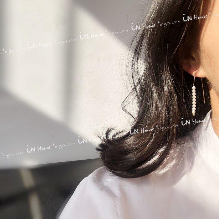 IN House* 韓國 小眾品牌 簡約 唯美 個性 線形 金線 串 珍珠 耳環 耳釘 飾品