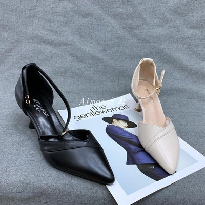 Empress丶春款真皮女鞋搭扣氣質洋氣時尚個性百搭舒適高跟鞋牛皮女單鞋