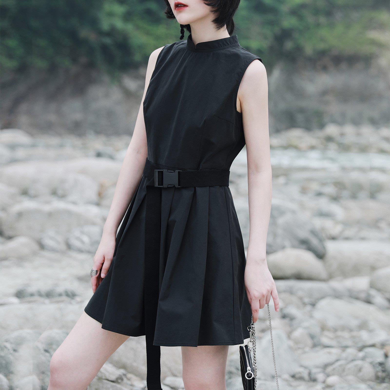 ||一品著衣|| 冷淡風 復古中式國風改良連身裙小夏立領高腰性感a字裙日系小黑裙