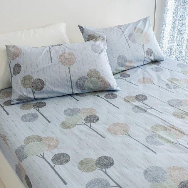 MIT精梳棉【小森之樹-藍色】雙人加大/床包枕套組-絲薇諾