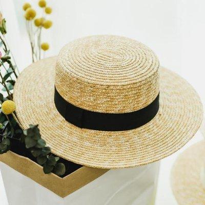 [惠生活]平頂麥稈草編草帽子女春夏平檐遮陽休閒小禮帽海邊度假沙灘帽 【免運】