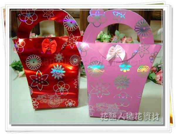 ◎花語人造花資材◎*愛情花園提袋型黏花禮盒(中)*泰迪熊~糖果包裝盒~婚禮小物~送客禮