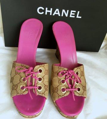 Gucci (紫粉logo)楔型鞋