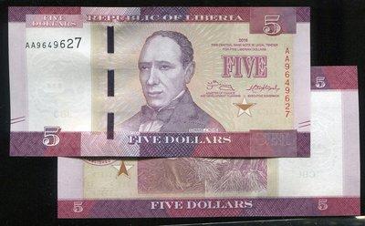 LIBERIA(賴比瑞亞紙幣), P31 ,5 Dollars ,2016,品相全新UNC 國際#19051043