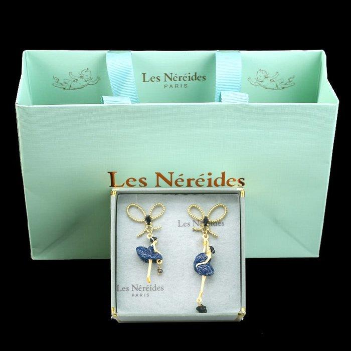 Lissom韓國代購~LES bsl nereides芭蕾舞女孩耳環琺瑯釉蝴蝶結珍珠不對稱耳夾耳釘