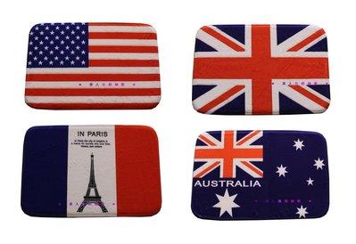 ✻美人魚的秘密✻普通款40x60英倫風格腳踏墊廠家 英國、美國國旗、巴黎鐵塔、加拿大、澳大