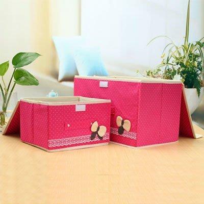 (小)蝴蝶結無紡布收納箱 換季衣物收納盒 玩具整理箱【AF07262】