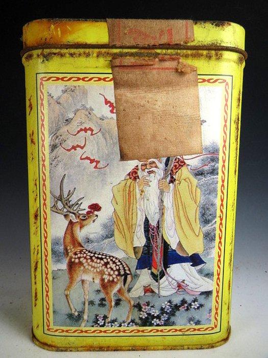 【 金王記拍寶網 】P1553  早期懷舊風中國億興合茶棧 福祿壽翁圖 老鐵盒裝普洱茶 諸品名茶一罐 罕見稀少~