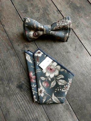 【巴特先生】中國花卉領結口袋巾套組_復古_bow tie_西裝_雅痞_handmade_灰藍