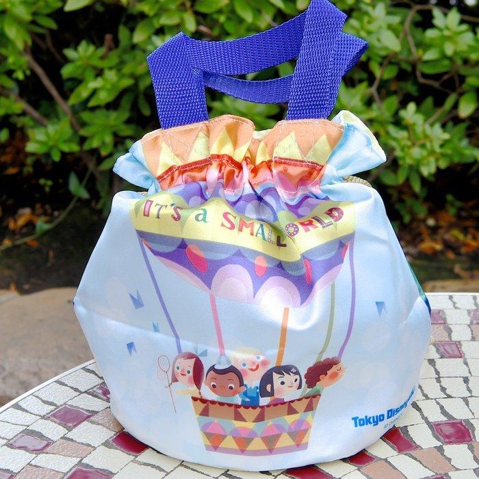 Ariel's Wish-日本東京迪士尼2018童話故事小小世界熱氣球環遊世界束口袋造型便當袋手提袋手提包圓筒包-絕版品