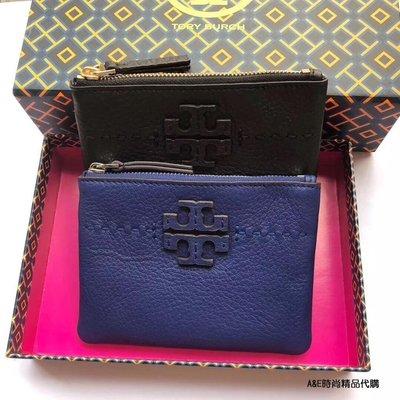 A&E精品代購TORY BURCH 典雅時尚潮流 藍色T字母浮雕LOGO拉鍊錢包  零錢包  美國代購