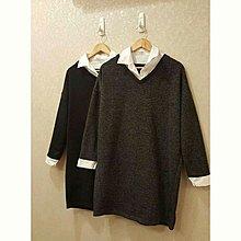 假兩件毛衣襯衫洋裝-鐵灰