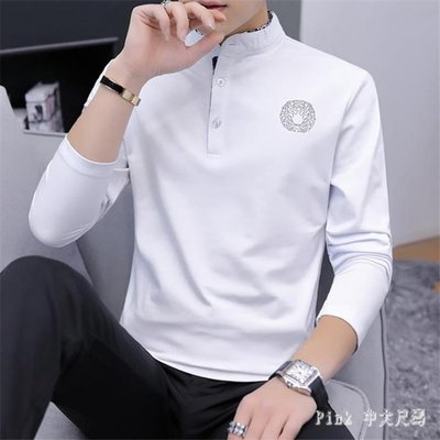 POLO衫秋季2019小衫男士長袖T恤立領純色上衣服男裝新款潮流打底衫 JY11136
