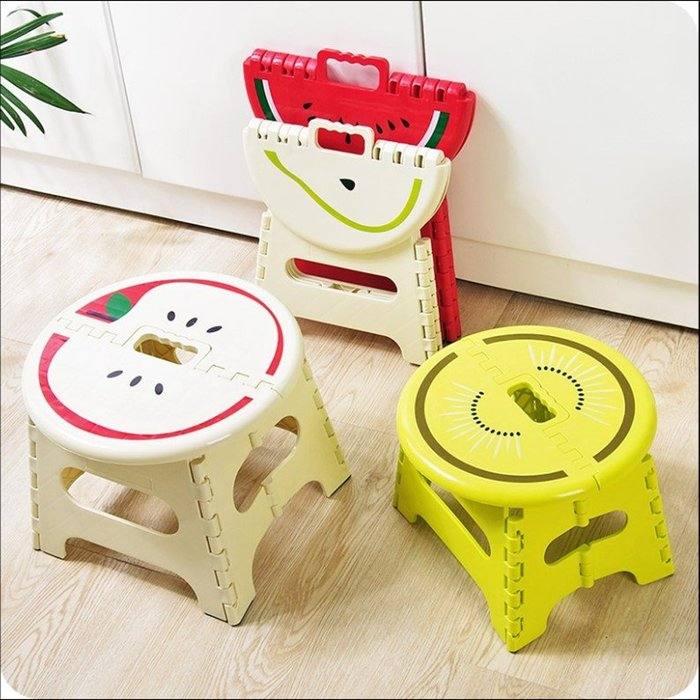 摺疊凳水果造型可折疊塑膠凳子便攜手提戶外折疊凳家用馬紮板凳兒童小凳子(小號)_☆優購好SoGood☆