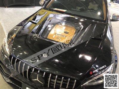 SPY國際 Benz W205 C63樣式 碳纖維引擎蓋 透明 預購款