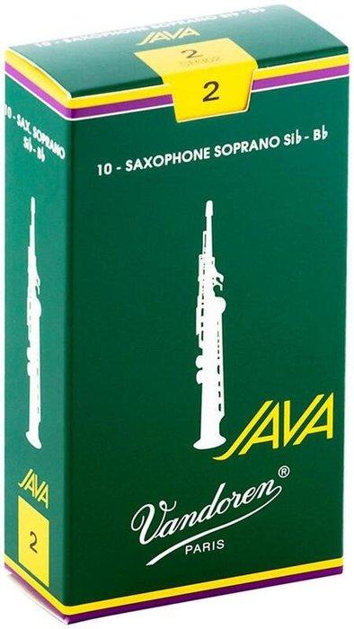 【現代樂器】法國包裝 Vandoren Java (綠盒)高音薩克斯風Soprano Saxophone 2號 竹片