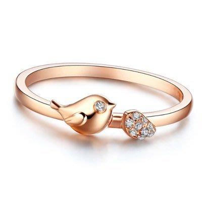 戒指 鑲鑽925純銀銀飾-精美別緻小鳥時尚生日情人節禮物女飾品73lz39[獨家進口][米蘭精品]
