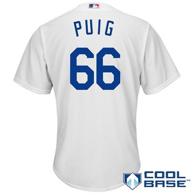 Yasiel Puig Majestic White Home Cool Base Player Jersey