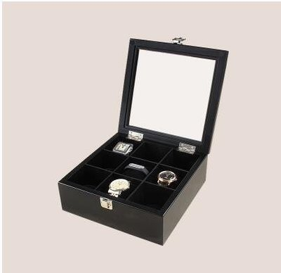 【優上】實木質 手錶盒首飾收納盒收藏盒展示儲物盒「9格錶盒 黑色」