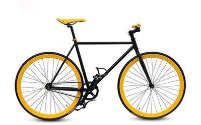 【河馬自行車】死飛車 單速車 Fixed Gear 倒騎死飛  黑黃色