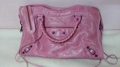 **只要29999元** 正品 Balenciaga city 巴黎世家 粉紅色 小扣機車包