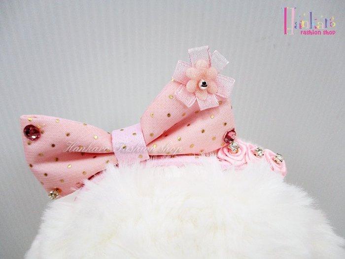 ☆[Hankaro]☆ 寵愛毛小孩可愛粉色蝴蝶結造型BB夾頭飾裝扮