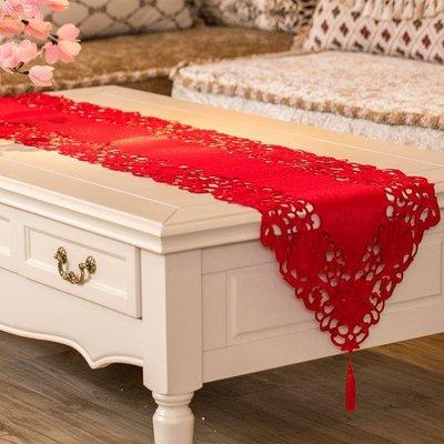 日和生活館 茶幾餐桌旗 紅色喜慶結婚慶客廳飯桌布電視櫃旗歐式刺繡蓋巾布藝S686