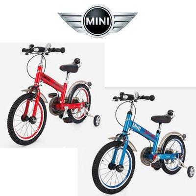 """英國Mini Cooper原廠正版授權城市型碳鋼兒童自行車16吋單車16""""前後擋泥板橡膠充氣胎兒童輔助輪腳踏車 紅色藍色"""