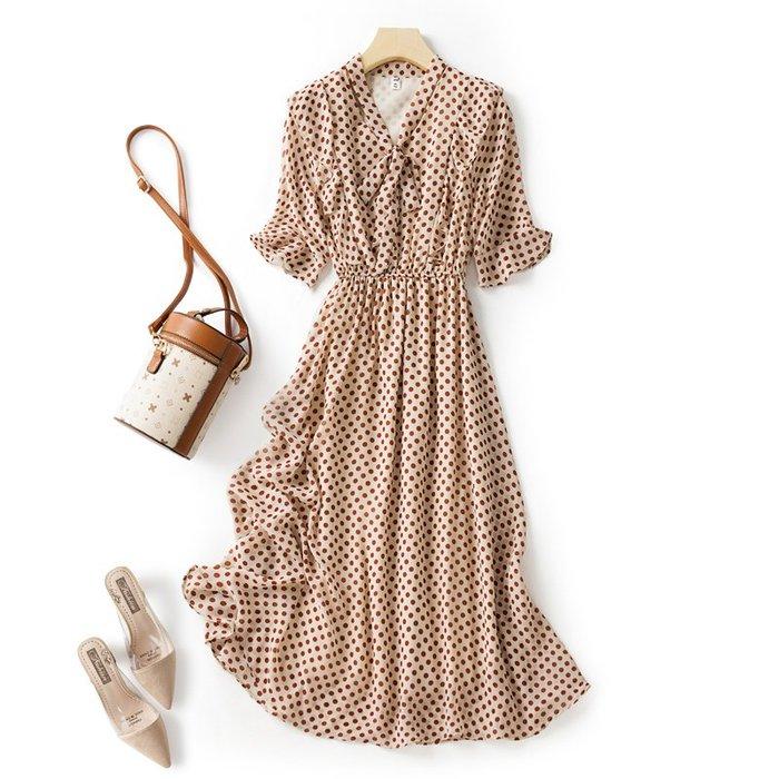 輕熟風 氣質 洋氣波點氣質連衣裙女神范典雅中長裙復古小眾夏裙子