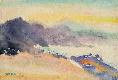 賴炳昇 風景 1973 40x27cm  水彩 (油畫、油彩、新寫實、台灣、雲林、北港、本土、東方畫會)