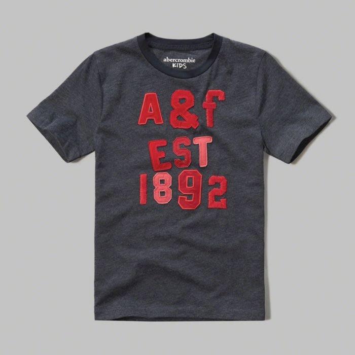 美國百分百【Abercrombie & Fitch】T恤 AF 短袖 麋鹿 kids 女 男 XS號 鐵灰色 G532