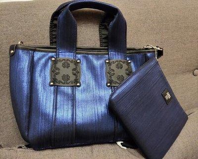 降價 時尚精品ANNA SUi 安娜蘇 亮深藍色肩背包