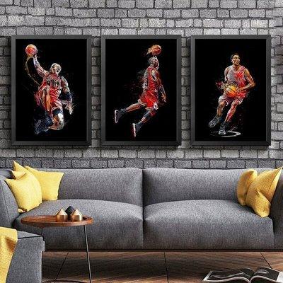 ART。DECO  JORDAN喬丹海報掛畫籃球NBA明星裝飾畫公牛宿舍書房客廳牆畫壁畫