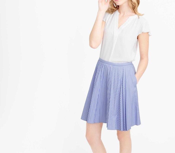 【現貨】條紋Aline 清涼藍 短裙  kiito/apt3r