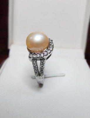 [一品軒促銷品]近圓天然完美無暇粉珍珠9.5-10MM3A+級造型戒指