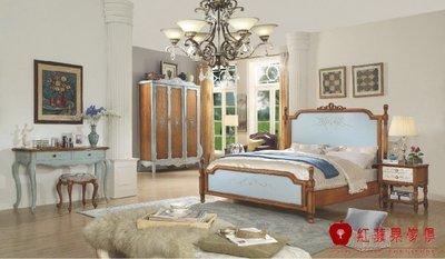 [紅蘋果傢俱]FG-041-AA  6尺米床 實木床 雙人床 歐式床 美式床 床頭櫃 梳妝台 三門衣櫃 床尾凳 房間組