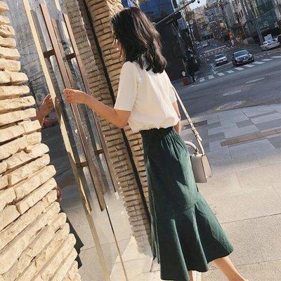 店長嚴選春裝韓版燈芯絨高腰修身半身裙女 中長款魚尾裙包臀裙長裙