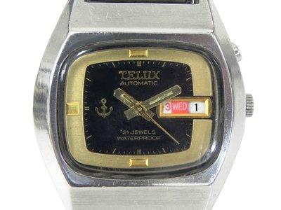 機械錶 [TELUX 7205] 鐵力士 酒桶型機械自動錶[21石][黑色面]中性錶/軍錶