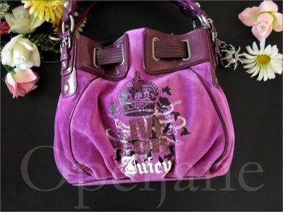 美國官網特價 Juicy Couture 紫色絨布 真皮飾邊 肩背包 手提包 醫生包 免運費 愛Coach包包