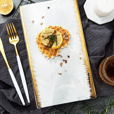 創意鍍金歐式西餐擺盤水果砧板切菜板陶瓷平盤長方形托盤子面包板