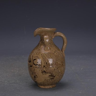 【三顧茅廬 】唐代灰地手工絞胎瓷雙系花澆壺 文物出土古瓷器古玩古董收藏