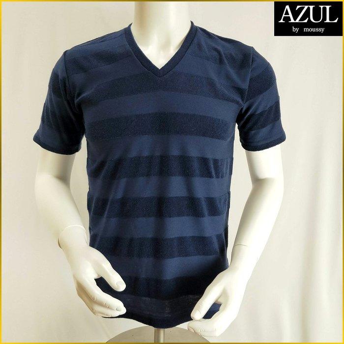 日本品牌✈️AZUL/小尺碼/藍色/V領/短袖T恤/條紋/T恤/條紋T/日本帯回/新品/男 S号/165cm/O230A