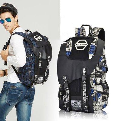 【優上精品】日韓高中生書包雙肩包男士背包大容量帆布街頭休閑旅行包印花背包(Z-P3210)