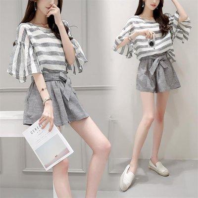 日和生活館 休閒套裝女夏裝寬鬆條紋闊腿短褲兩件式S686
