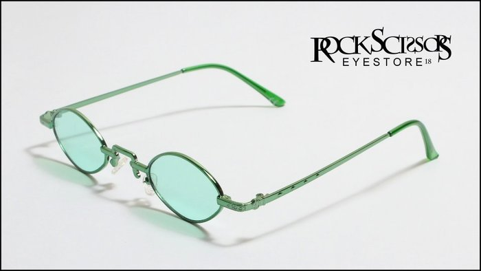Rock scissors一中店 [韓國製] 復古80s style 金屬細框 海洋鏡片綠框 綠鏡片小框橢圓框太陽眼鏡